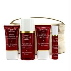 Super Restorative Collection: Serum 30ml + Day Cream 15ml + Night Cream 15ml + Neck Concentrate 10ml + Bag - 4pcs+1bag by Clarins. $144.99. 4pcs+1bag. Super Restorative Collection: 1x Serum 30ml/1.06oz 1x Day Cream 15ml/0.53oz 1x Night Cream 15ml/0.53oz 1x Decollete & Neck Concentrate 10ml/0.35oz 1x BagIdeal both for personal use & as a giftProduct Line: Clarins - Super Restorative - Night CareProduct Size: 4pcs+1bag