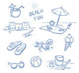 Vektor: Icon set summer beach holidays, vacation with sand castel, shoes, ice cream, shells, ball, drink, towel, sunglasses, parasol. Hand drawn doodle vector illustration.