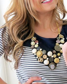 How To Make a Button Bib Necklace {step by step Tutorial} - accessories, Crafts, DIY, Tutorials - Little Miss Momma
