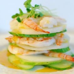 ... Korean-style shrimp salad with cucumber and Korean pear slices