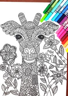 Giraffe Coloring Page --> If you're in the market for the best coloring books and supplies including watercolors, colored pencils, gel pens and drawing markers, logon to http://ColoringToolkit.com. Color... Relax... Chill.