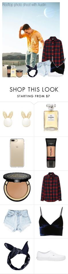 """""""Rooftop photo shoot with Austin"""" by mare-bear-moonlight ❤ liked on Polyvore featuring GET LOST, Lipsy, Chanel, Speck, L'Oréal Paris, Too Faced Cosmetics, Uniqlo, Levi's, T By Alexander Wang and Boohoo"""