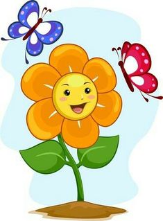 illustration of happy flower mascot with butterflies Drawing For Kids, Art For Kids, School Painting, Board Decoration, School Clipart, Happy Flowers, Flower Clipart, Jokes For Kids, Cute Drawings