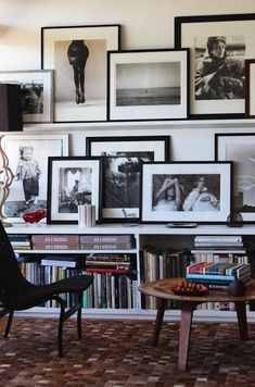 Picture frames on narrow shelves - I want to display our wedding pictures and our parents/grandparents in this fashion