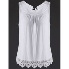 15.85$  Watch here - http://digqv.justgood.pw/go.php?t=177357103 - Trendy Jewel Neck Lace Splice Cut Out Tank Top For Women 15.85$