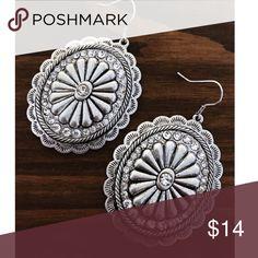 Silver Rhinestone Concho Earrings Brand new silver & Rhinestone Concho earrings. Tags: country girl cowgirl jewelry boots western jewelry earrings Boho gypsy tribal Aztec Navajo southern southwest western rodeo cowgirl style Jewelry Earrings