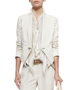 Brunello Cucinelli Cropped 3-In-1 Tux Jacket, Vest with Ostrich Feather Placket