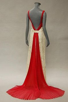 Anna de Wolkoff ivory damask evening gown, late 1930s