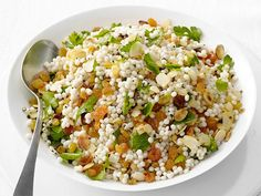 Israeli Couscous with Raisins : Combine Israeli couscous with cinnamon, golden raisins and almonds for a hearty side dish.
