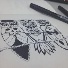 Owls and skulls illustration tattoo