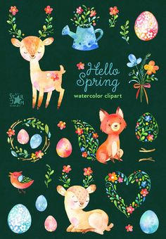 Hello Spring. Watercolor animals and floral clipart deer