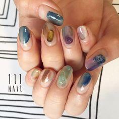 ▪▫▪️ #nail#art#nailart#ネイル#ネイルアート #ennui#nuance#クリアネイル#大理石ネイル#ショートネイル#nailsalon#ネイルサロン#表参道#nuance111#大理石111#colorful111#クリアネイル111 (111nail)