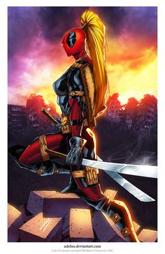 Lady Deadpool print... Pencil and Ink by Adelso Corona, Color by Splash!