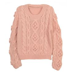 Retro Scoop Neckline Twist Cable- Knit Sweater found on Polyvore