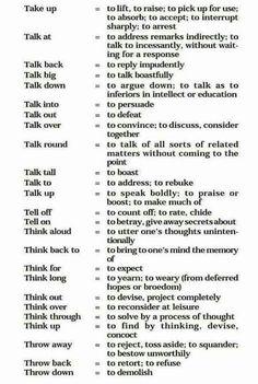 Phrasal Verbs 't' English Help, English For Beginners, English Course, English Tips, Learn English Words, English Study, English Lessons, English Prepositions, English Idioms
