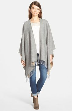 Nordstrom Reversible Cape with Fringe available at #Nordstrom