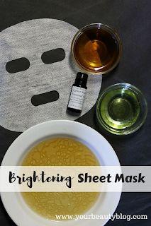 Make this easy and inexpensive sheet mask recipe for brighter skin.  #sheetmask #skincare #naturalskincare #diybeauty #honey #carrotseedoil #grapeseedoil