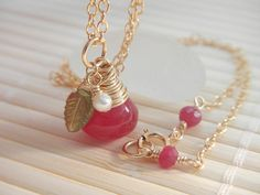 Ruby Red Chalcedony Vesuvianite Pearl Necklace in by TeaHarvest, $34.50