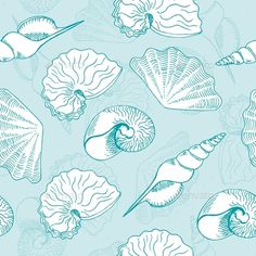 Buy Seamless Pattern by Irrin on GraphicRiver. Vector illustration of seamless pattern with seashells Coral Bedding, Vector Flowers, Coral Blue, Seashells, Under The Sea, Vectors, Fonts, Abstract, Beach