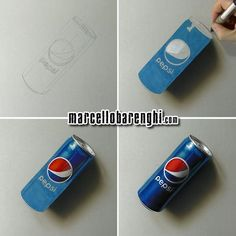 3D Drawing Ideas 3D drawing of a Pepsi can by Marcello Barenghi, mixed media on grey paper, images and timelapse video.