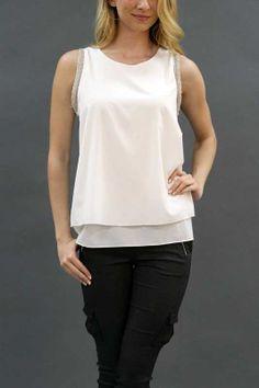 LAYER TANK WITH PEARL - WHITE, $31.25 USD BLUEFAIRYSHOP.COM LAYER TANK WITH PEARL DETAIL TRIM 2 COLORS OPTIONS ARE BLACK AND WHITE. 14M835   #bluefairyshop #freeshipping #freereturn #shopping #boutique #fashion #clothing #trend