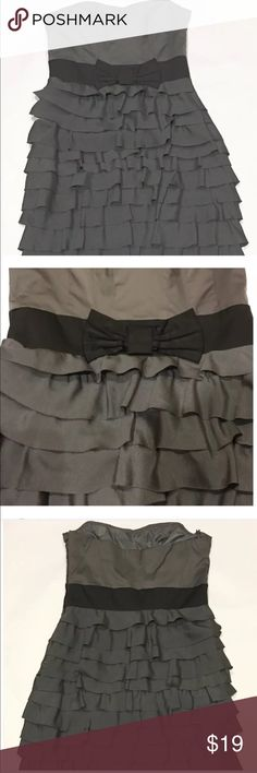 Like new party dress Prom, party, cocktail dress. Charcoal grey ruffles, side zip.  Like new condition, worn once, size 8 Dresses Strapless
