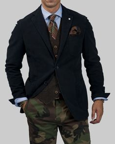Moleskin Blazer Paired With Camouflage Pants at Lubiam.