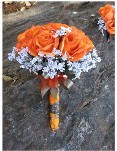 Custom New Artificial True Timber MC2 Blaze Wedding Flowers, Orange Camo Bridal Bouquet