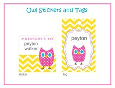 Owl 'property of' school supplies stickers