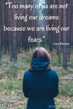 """Too many of us are not living our dreams because we are living our fears."" ~ Les Brown"