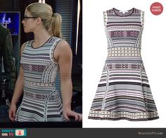 Felicity's geometric patterned fit and flare dress on Arrow. Outfit Details: http://wornontv.net/41490/ #Arrow