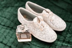 White, sparkle Keds for wedding - sneakers for bride {Erika Geier photography}