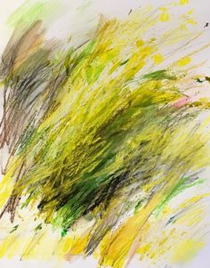 """Acrylic and pastels on paper. 11x14 """"Grass Series Yellow"""""""
