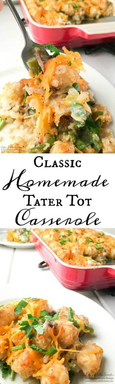 This Classic Homemade Tater Tot Casserole is made from scratch without the use of canned soup. It's creamy, comforting and a delicious, one-dish dinner, sure to be a family favorite! Tater Tot Casserole, Casserole Dishes, Casserole Recipes, Seafood Recipes, Beef Recipes, Cooking Recipes, Yummy Recipes, Yummy Food, Potato Recipes