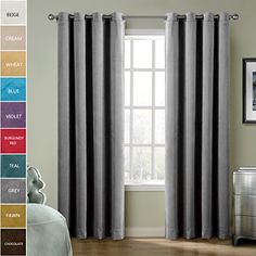 ChadMade Extra Wide Blackout Lined Premium Velvet Curtain Grey 120Wx96L Inch 1 Panel Eyelet Grommet For Livingroom Bedroom Theater Studio *** Click image for more details. Note: It's an affiliate link to Amazon