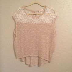 Cute top!! Lace and sparkly accents.  Junior Large. True to size. Tops Blouses