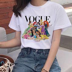 227,25 руб.  -41% | Модная футболка в стиле Харадзюку, летняя футболка с графическим принтом Ullzang, Корейская, кавайная, уличная футболка, 90 s, забавная принцесса, мультяшный Топ, футболки для женщин Tees For Women, Clothes For Women, Funny Princess, Disney Designs, Vogue, Cheap T Shirts, Disney Outfits, Shirts With Sayings, Nice Dresses