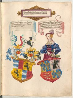 Madame de Pompadour (Fugger Ehrenbuch by Jorg Breau the. 1500s Fashion, German Costume, German Outfit, Renaissance Clothing, Family Crest, Medieval Art, Central Europe, Coat Of Arms, 16th Century
