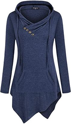 New Miagooo Uneven Hemline Hoody Shirt Pocket Tunic Long Sleeve Casual Tops plus size sweater dress. ($25.99) findtopgoods Fashion is a popular style Plus Size Sweater Dress, Womens Going Out Tops, Casual Tie, Tunic Tank Tops, Business Shirts, Leggings, Long Hoodie, Outfits For Teens, Clothes