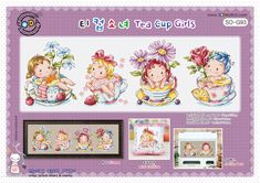 Tea cup girls - Cross stitch pattern leaflet.  Big chart SODAstitch SO-G93 by GeniesCrossstitch on Etsy