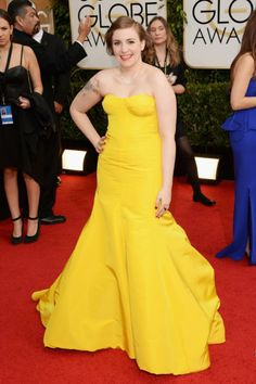Lena Dunham in Zac Posen (get all the 2014 Golden Globes red carpet details today on chicityfashion.com)