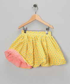 #fall #zulily Take a look at this Pink & Yellow Damask Reversible Skirt - Infant, Toddler & Girls by Blow-Out on #zulily today!