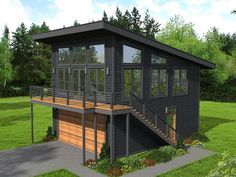 House Plan 40823 - Contemporary , Modern Style House Plan with 650 Sq Ft, 1 Bed, 1 Bath, 2 Car Garage Architectural Design House Plans, Modern House Design, Architecture Design, Modern Tiny House, Small Modern Home, Modern Houses, Architecture Fails, Modern Glass House, Home Design