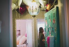 Love the idea of the ceiling filled with balloons! Lucca's first birthday party | 100 Layer Cakelet