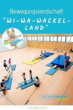 "Bewegungslandschaft ""Wi-Wa-Wackel-Land"" A movement landscape on the theme of ""Wi-Wa-Wackel-Land"" for children's gymnastics in kindergarten or daycare. Have fun doing night gymnastics! Pediatric Ot, Parkour, Judo, Working Moms, Land Scape, Kids And Parenting, Physique, Basketball Court, Train"