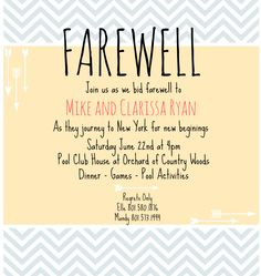 Free printable invitation templates going away party pinteres farewell invite stopboris Images