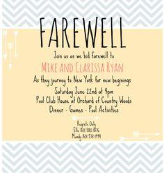 Farewell Invitation on Pinterest   Going Away Parties ...