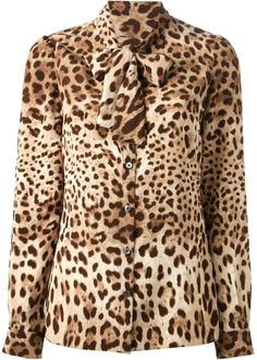 Dolce and Gabbana Leopard Print Blouse  Lyst Leopard Outfits f789d6b14