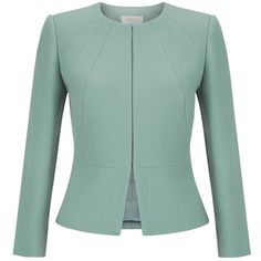 Hobbs Aphra Jacket, Cameo Green (€140) ❤ liked on Polyvore featuring outerwear, jackets, blazer, coats, peplum blazer jacket, green blazer, shiny jacket, collarless blazer and green blazer jacket