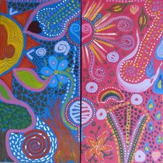 The Joining 2011 - Tribal DoodleJam Workshop - vibrant group paintings using doodles #DoodleJam
